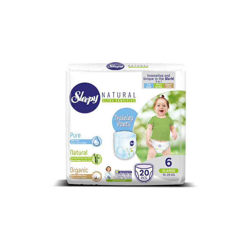 Sleepy Natural Xlarge Nappy Pants, Size 6, 15-25kg, 20pcs