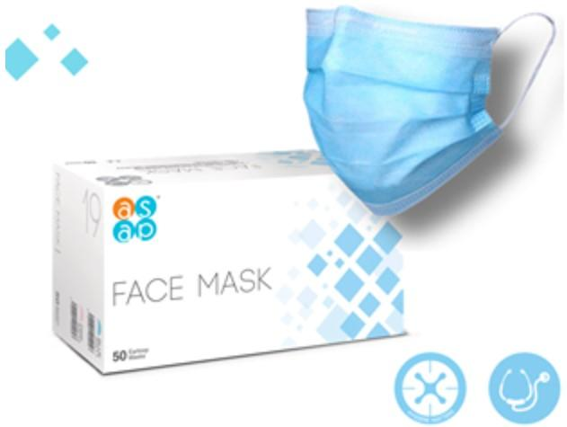 Box of 50 ASAP Surgical Face Masks. Including mask shape.