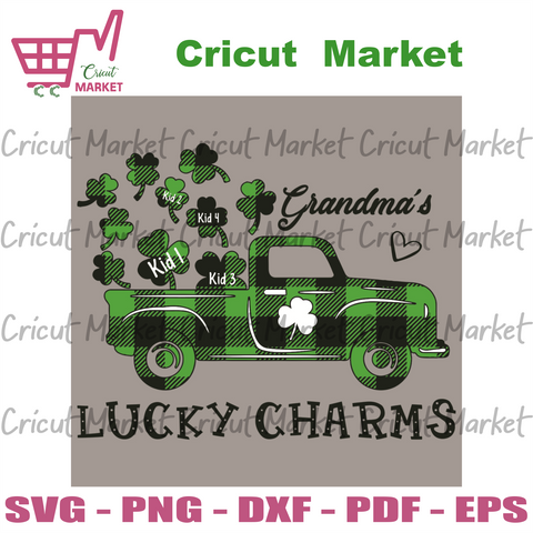 Grandma Lucky Charms Svg, Patrick Svg, Truck Svg, Shamrocks Svg, Grandma Svg, Truck Of Shamrocks Svg, Lucky Charms Svg, Lucky Svg, Charms Svg, Grandma Gifts Svg, Kid Svg, Patrick Party Svg, Patrick Day Svg, Patrick Gifts Svg