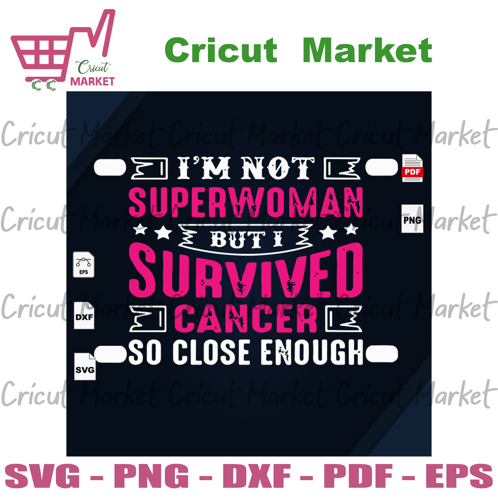I'm Not Superwoman, I Survived Cancer So Close Enough, Breast Cancer Svg, Cancer Awareness, Cancer Ribbon Svg, Breast Cancer Ribbon, Breast Cancer Anniversary, Breast Cancer Ribbon Print, R