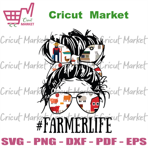 Messy Hair Woman Bun Farmer Life Svg, Trending Svg, Farmer Life Svg, Farm Women Girl Svg, Messy Hair Svg, Woman Bun Svg, Women Face Svg, Svg Cricut, Silhouette Svg Files, Cricut Svg, Silhouet