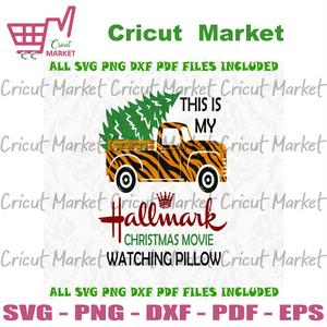 This Is My Hallmark Christmas Movie Watching Pillow, Christmas Svg, xmas, christmas movies, hallmark movie, christmas hallmark, watching pillow, hallmark, tiger pattern truck, christmas truck