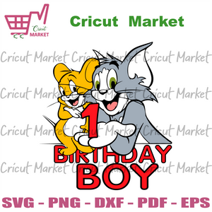 Tom and Jerry 1 Birthday Boy Svg, Birthday Svg, 1st Birthday Boy Svg, 1 Years Old Svg, Tom and Jerry Svg, Tom and Jerry Birthday Svg, 1 Years Old Boy Svg, Birthday Gifts Svg, Birthday Party S
