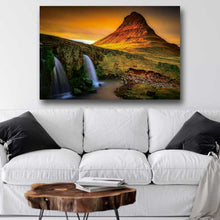 Load image into Gallery viewer, Sunset with Waterfalls and Mountain Peak