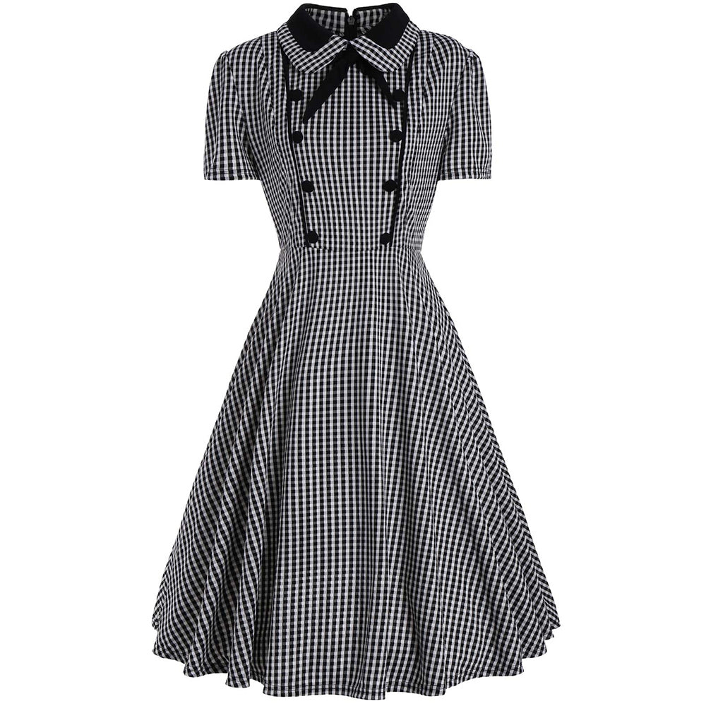 Plus Size Plaid A Line Midi Dress