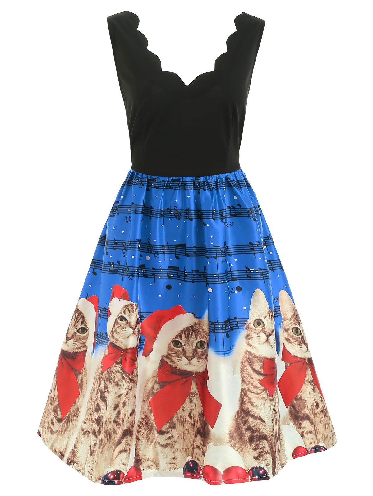 Christmas Cats Musical Notes Print Sleeveless Dress