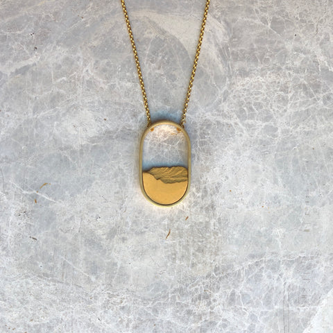 Oval golden necklace with porcelain, Sustainable jewelry, handcrafted, artisanal design