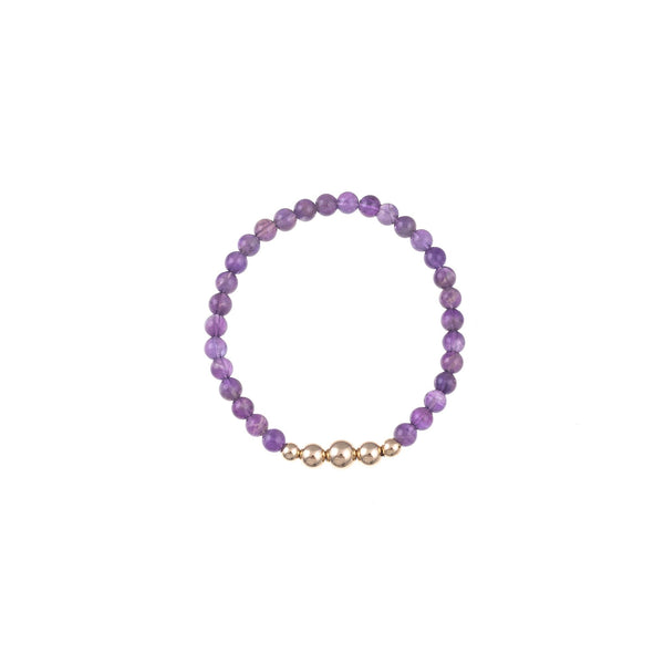 "Amethyst Bracelet with Accent Bracelet Ritual Intention 6.5"" Gold"