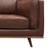 1 SEATER STYLISH LEATHERETTE BROWN YORK SODA