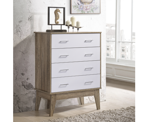 SCANDINAVIAN INSPIRED 4-DRAWERS TALLBOY - OAK