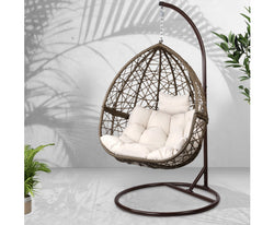 GARDEON OUTDOOR HANGING SWING CHAIR - BROWN
