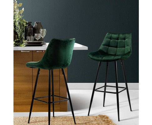 ARTISS 2X METAL KITCHEN BAR STOOL VELVET - GREEN