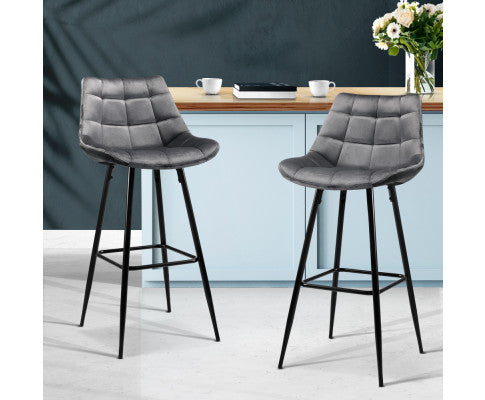 ARTISS 2X METAL KITCHEN BAR STOOL VELVET - GREY