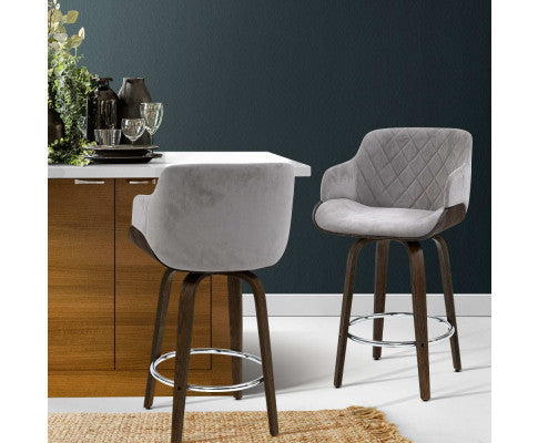 ARTISS 1X KITCHEN BAR STOOL WOODEN SWIVEL VELVET FABRIC - GREY