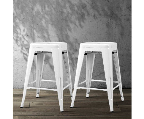 ARTISS 4X REPLICA TOLIX BAR STOOLS METAL 61CM - WHITE