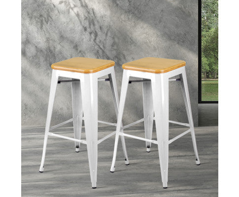 ARTISS 2X METAL & BAMBOO BAR STOOLS - WHITE