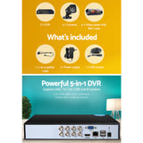 UL-TECH 8CH 5 IN 1 DVR CCTV SECURITY SYSTEM VIDEO RECORDER W/ 4 CAMERAS 1080P HDMI - BLACK
