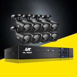 UL-TECH 8CH 5 IN 1 DVR CCTV SECURITY SYSTEM VIDEO RECORDER W/ 8 CAMERAS 1080P HDMI - BLACK