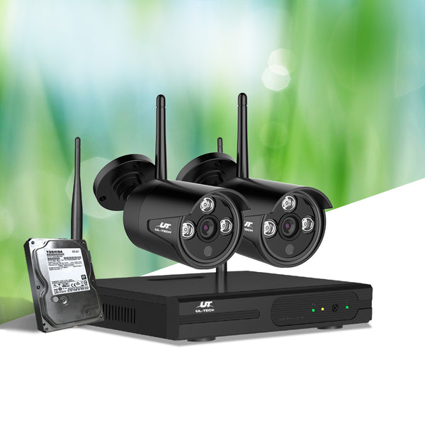 UL-TECH CCTV WIRELESS SECURITY SYSTEM 2TB 4CH NVR 1080P W/ 2 CAMERAS