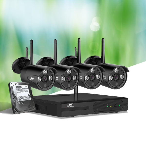 UL-TECH CCTV WIRELESS SECURITY SYSTEM 2TB 4CH NVR 1080P W/ 4 CAMERAS
