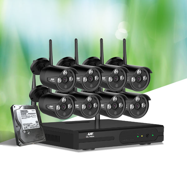 UL-TECH CCTV WIRELESS SECURITY SYSTEM 2TB 8CH NVR 1080P W/ 8 CAMERAS