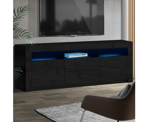 ARTISS HIGH GLOSS RGB LED ENTERTAINMENT UNIT STAND WITH DRAWERS 200CM - BLACK
