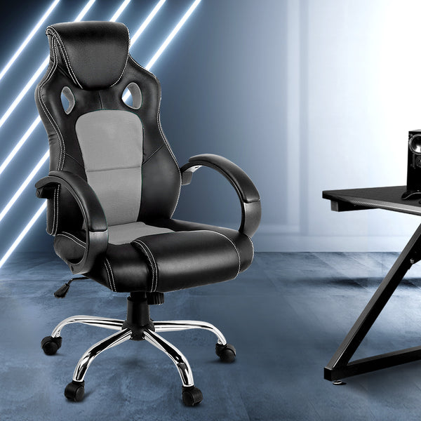 RACING STYLE PU LEATHER OFFICE DESK CHAIR - GREY/BLACK