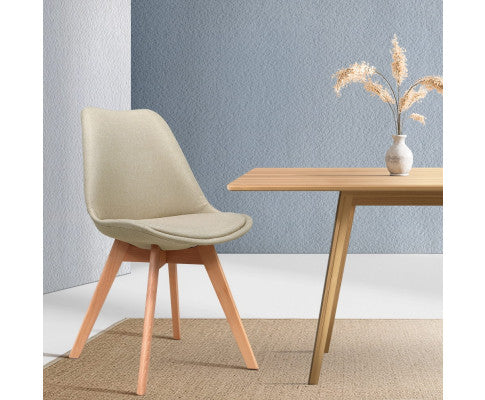 ARTISS 2X DSW DINING CHAIRS RETRO REPLICA KITCHEN CAFE CHAIR FABRIC