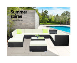 GARDEON 13PC WICKER OUTDOOR LOUNGE SETTING