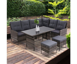 GARDEON 6PC WICKER OUTDOOR LOUNGE SETTING