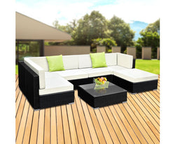GARDEON 7PC WICKER OUTDOOR LOUNGE SETTING