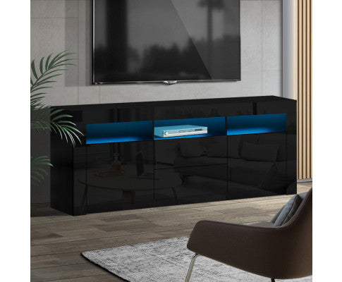 ARTISS 160CM RGB LED HIGH GLOSS TV UNIT - BLACK