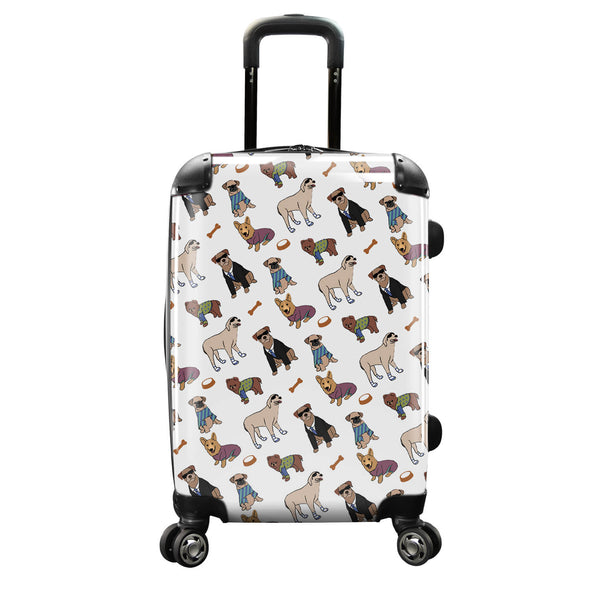 Image of a luggage that has a design of many differnt type of dogs with sunglasses.