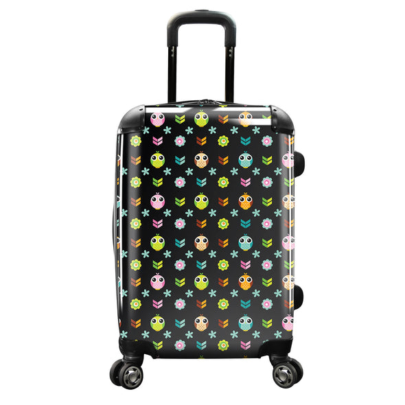 Image of a luggage that has a design of many owls and flowers.
