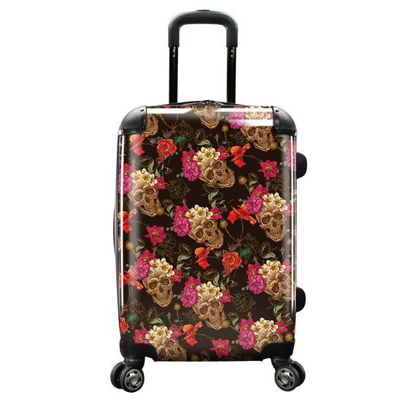 Image of a luggage that has a design of skulls with flowers.