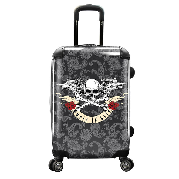 "Image of a luggage that has a design of a skull and banner saying ""Music is Life"""