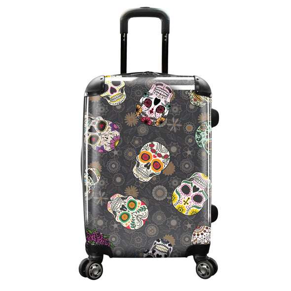 Image of a luggage that has a design of colorful skulls.