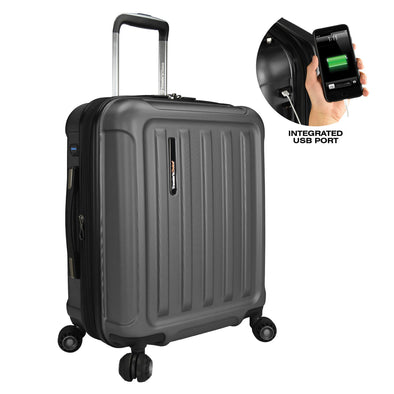 Image of gray luggage with a smaller image showing a integrated USB port for the luggage.