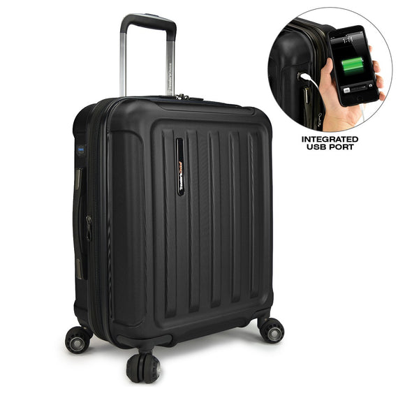 Image of black luggage with a smaller image showing a integrated USB port for the luggage.