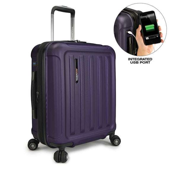 Image of purple luggage with a smaller image showing a integrated USB port for the luggage.