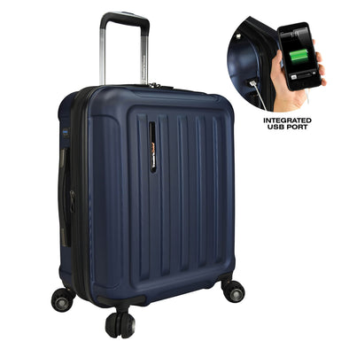 Image of blue luggage with a smaller image showing a integrated USB port for the luggage.