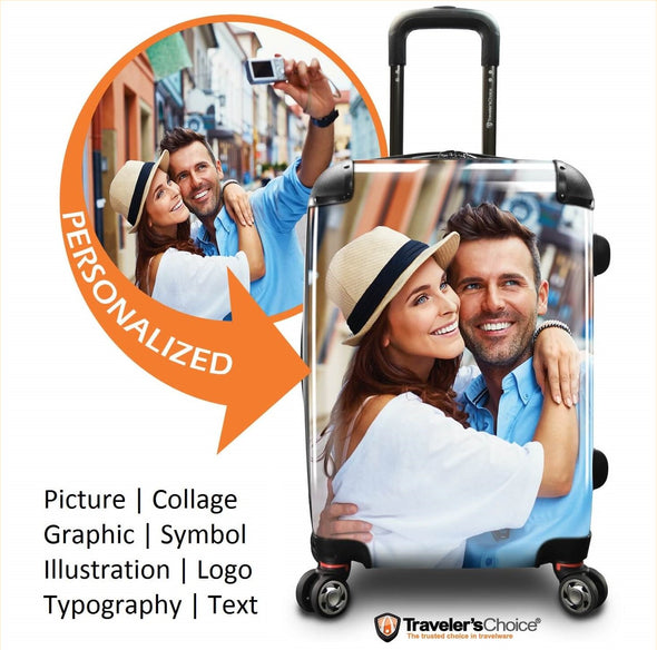 Image of a luggage that has a design of custom printed luggages.