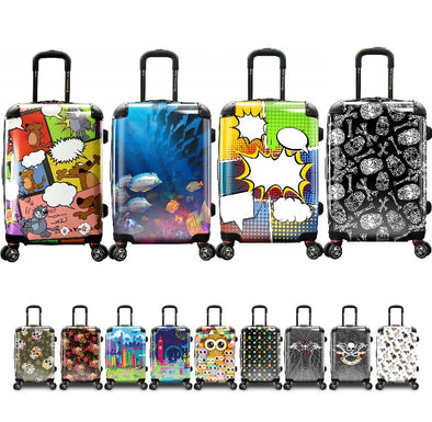 Luggage image containing cat and mouse, ocean view with fishes, comic book background , skulls, highrises, and cartoons selections.
