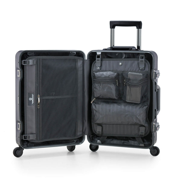 An image of a silver luggage and the interior.