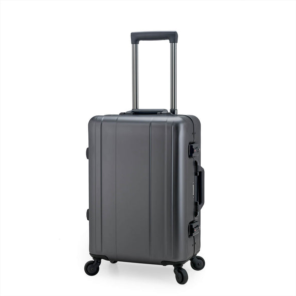 An image of a silver aluminum luggage.