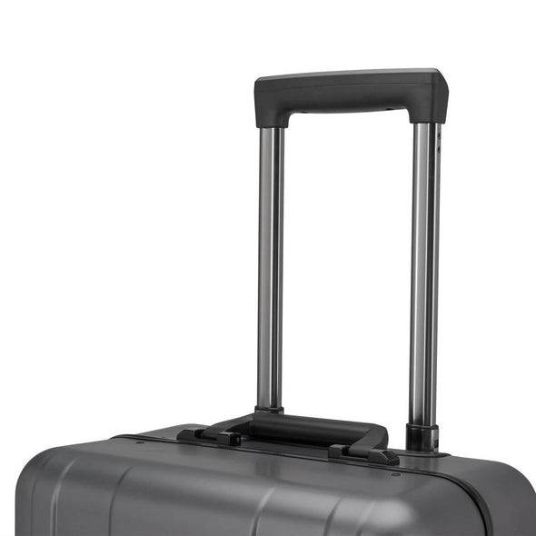An image of a silver luggage and the handle.