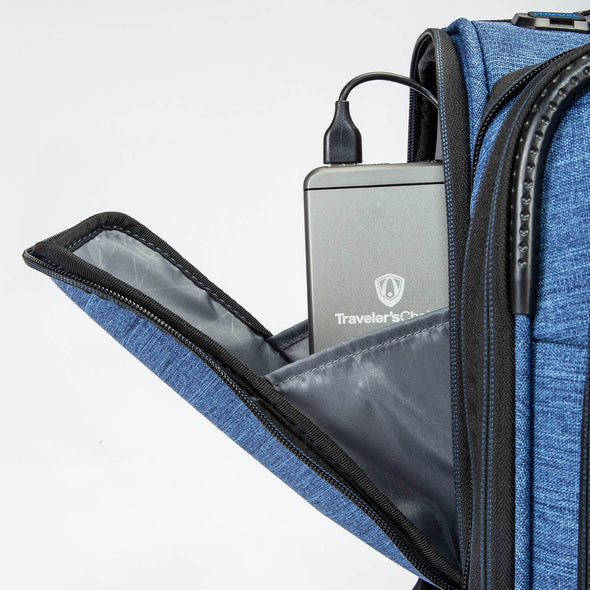 Image of a luggage that has a portable charger in the front pocket.