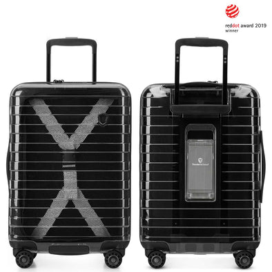 An image of a black transparent luggage with a space for a portable charger.