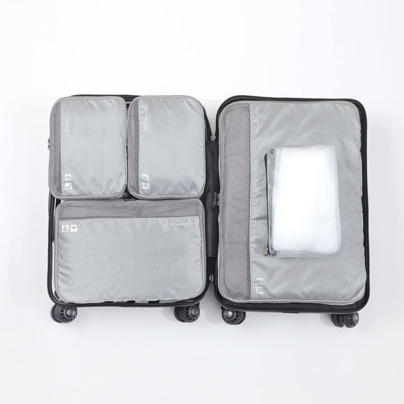 An image that shows the 5 cube bgs fitting inside a luggage.