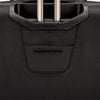 An image of the back of a black luggage.